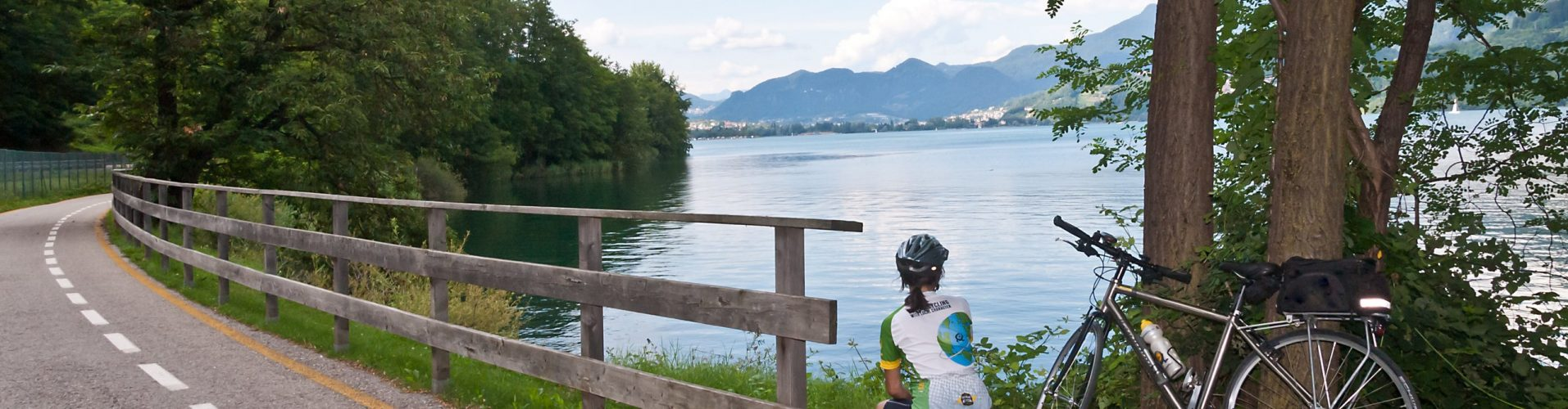 Stopping for a rest on a bike tour in Italy's lakes district.